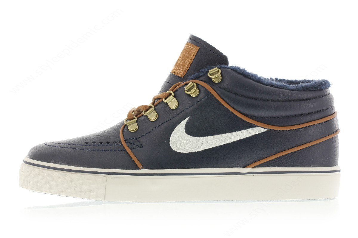Men Nike Zoom Stefan Janoski Mid Premium Dark Obsidian/birch-Lt British Tan - -0