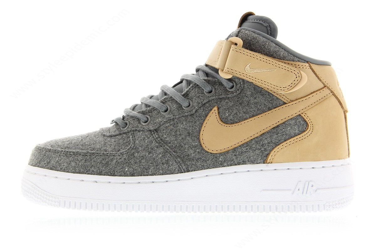 Lady Nike Wmns Air Force ' Mid Leather Premium Cool Grey/cool Grey-Vachetta Tan-White - -0