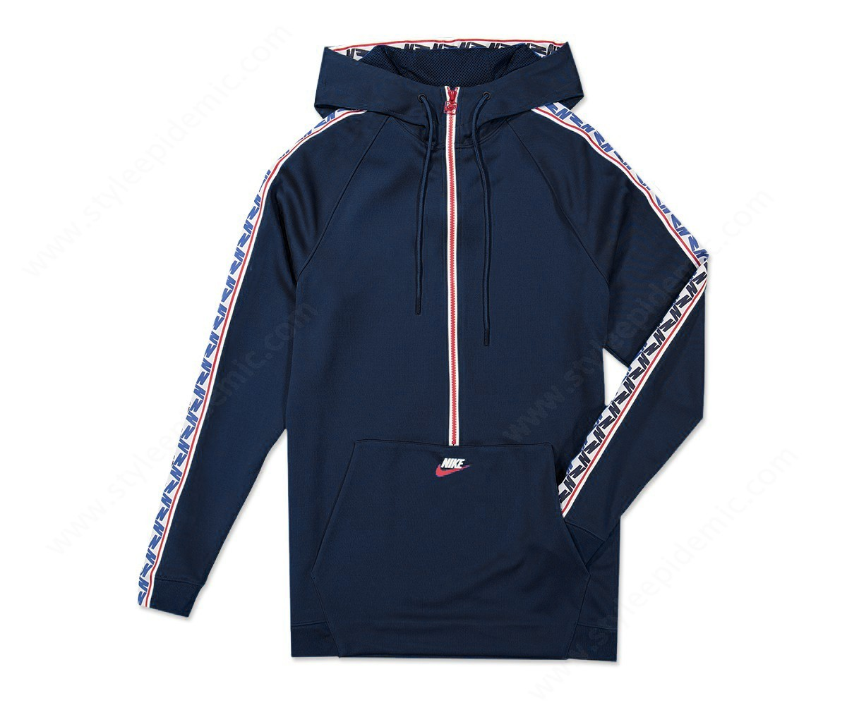 Men Nike M Nsw Taped Half Zip Hood Poly Obsidian/gym Red/sail - Men Nike M Nsw Taped Half Zip Hood Poly Obsidian/gym Red/sail